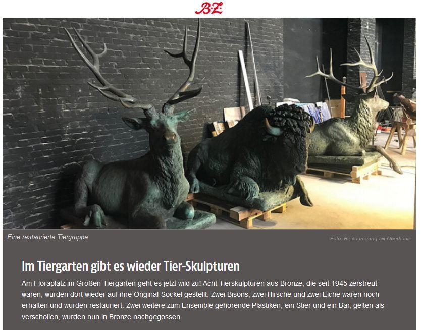 Tierfiguren zurück am Floraplatz / B.Z.