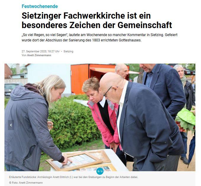 Eröffnung der Sietzinger Fachwerkkirche / Märkische Oderzeitung